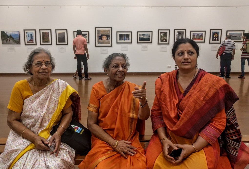 "Dr. Nalini Bhagwat and her sister along with artist Chitra Vaidya looking at the display at ""My pictures with their little stories"" at Nehru Centre Mumbai - fundraiser for Nana Palkar Smruti Samiti"