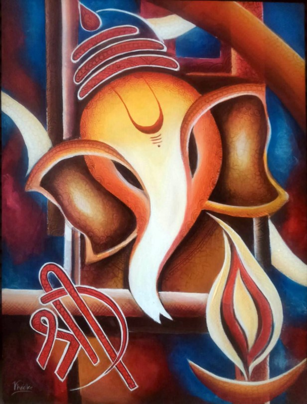 Ganesha, painting by Vranda Phadke, Acrylic on Canvas board, 24 x 18 inches