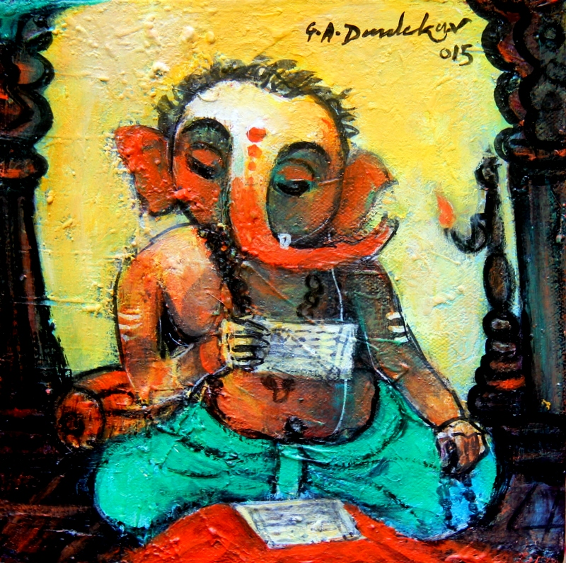 Ganesha reading Pothi by G A Dandekar, Acrylic on Canvas, 8 x 8 inches
