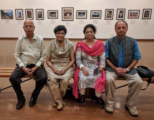 (L to R) Yashwant Shirwadkar, Yamini Shirwadkar, Dr. Prachee Sathe, Milind Sathe at the photography exhibition as a fundraiser for Nana Palkar Smruti Samiti, Mumbai