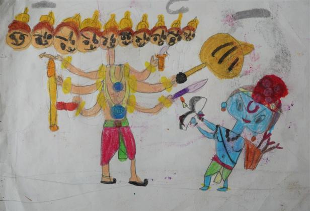 Ramayana painting by Mehak Borse, City International School, Pune - part of international art competition on Ramayana