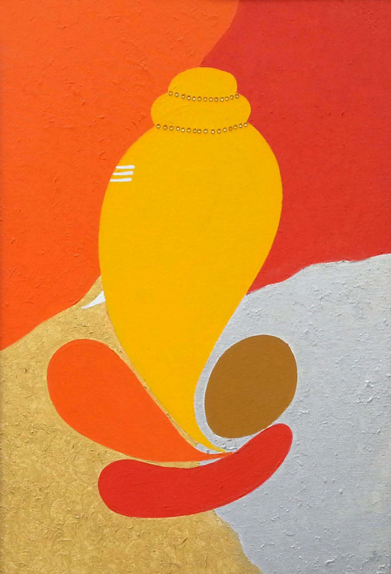Shankha Ganesha by Nandita Sharma, Acrylic on Canvas board, 24 x 18 inches
