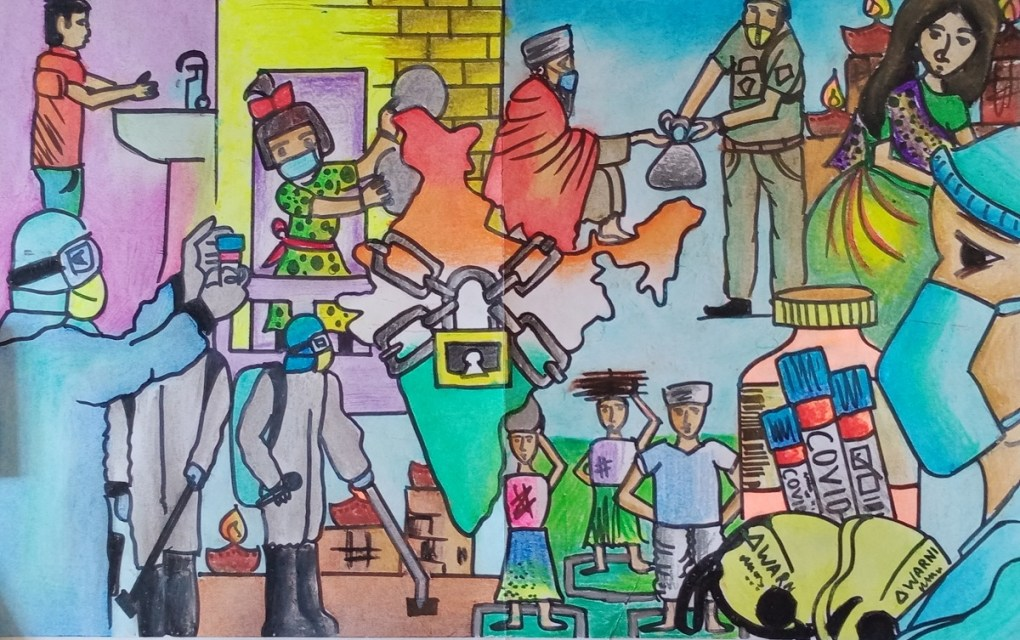 India fights back Coronavirus, painting in oil pastels by Shitez Agarwal (class 10), Mission School, Jatni, Odisha