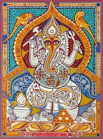 Shree Ganeshay Namah, Print by Jyoti Bhatt, Screenprint in 51 colours, 40 x 30 inches