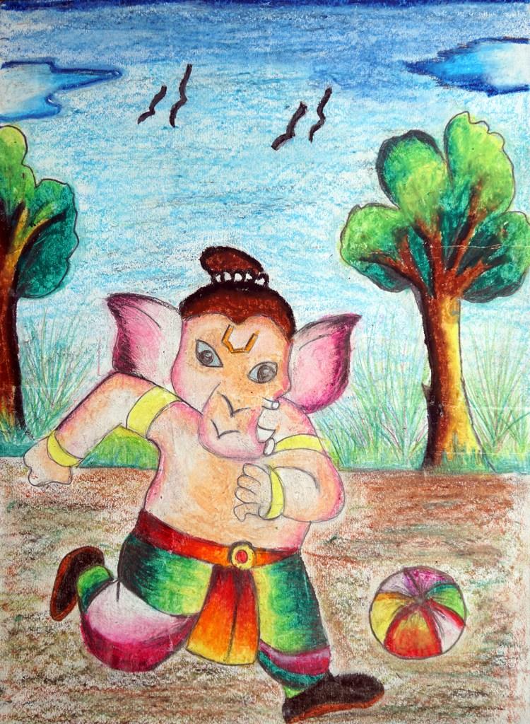 Painting by Varad Ganesh Jadhav (9 years), Vision English Medium School, Wai, Satara, Maharashtra - Shortlisted in Khula Aasmaan painting competition for Oct to Dec 2018