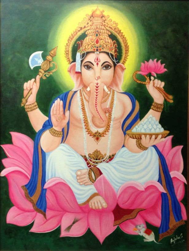 Vigneshwara, painting by Anjalee S Goel, Acrylic on Canvas board, 40 x 30 inches