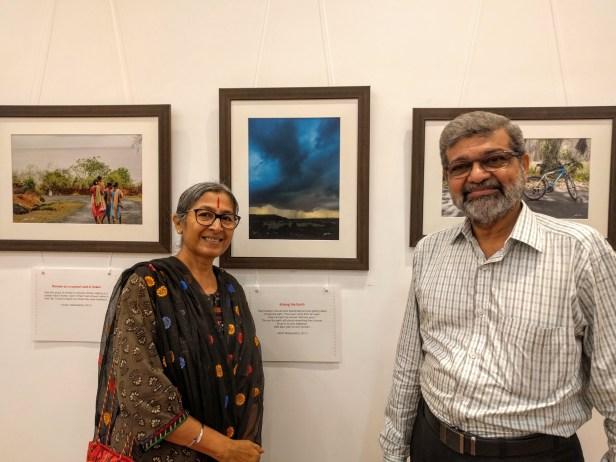 Vipta Kapadia with her husband at Milind Vishwas Sathe's photography exhibition at Nehru Centre Mumbai (2016)