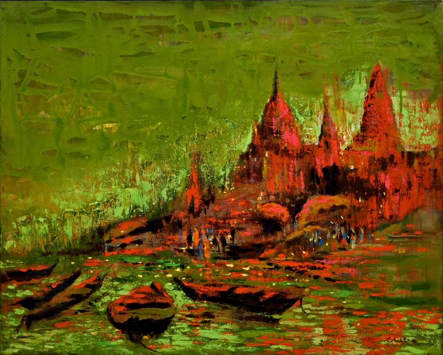 Banaras Memories, limited edition print of painting of Varanasi ghats by artist Chitra Vaidya