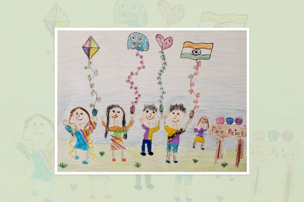 Karishma Patel, Naperville, Illinois - shortlisted painting in national art contest in U.S.