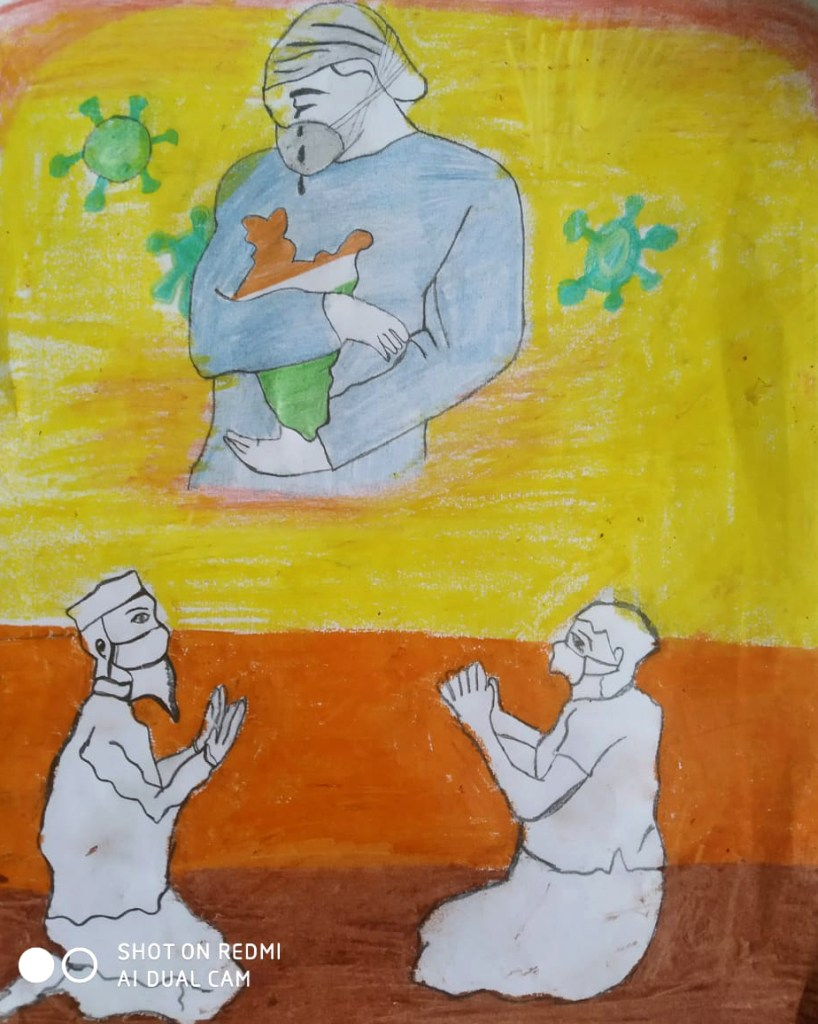 Covid-19 Warriors by Manasi Jaiswal, Narsingpur, Madhya Pradesh - Art in coronavirus lockdown for spreading hope and positivity through creativity