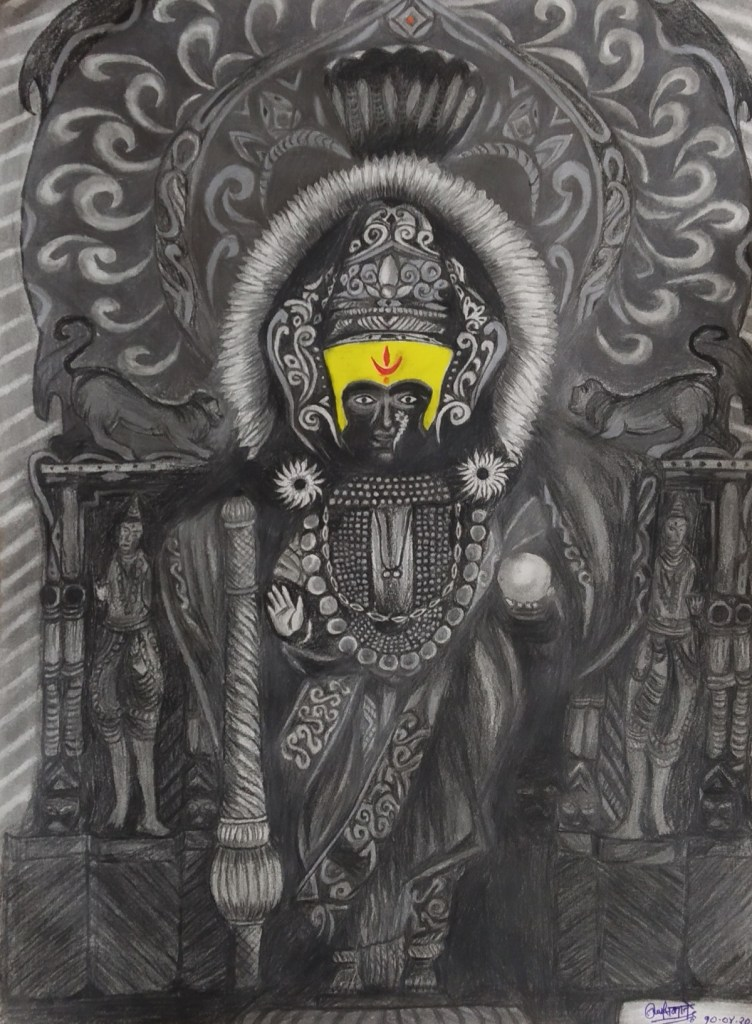 Devi Mahalaxmi of Kolhapur, painting by Nagesh Nakate - art in the time of lockdown to fight covid pandemic - stay home, stay safe