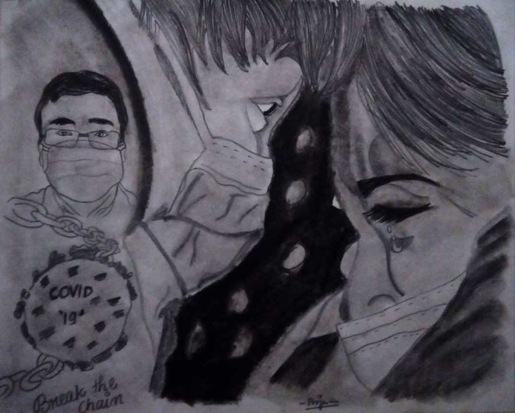 Title : Corona Lovebirds, Artist : Pooja Subramonian, Medium : charcoal pencil on paper, Size – 27.5 cm x 34.7 cm