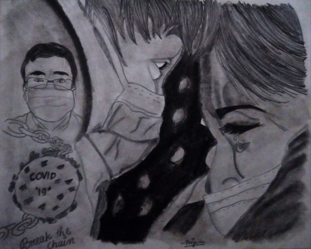 Title : Corona Lovebirds, Artist : Pooja Subramonian, Medium : charcoal pencil on paper, Size – 27.5 cm x 34.7 cm