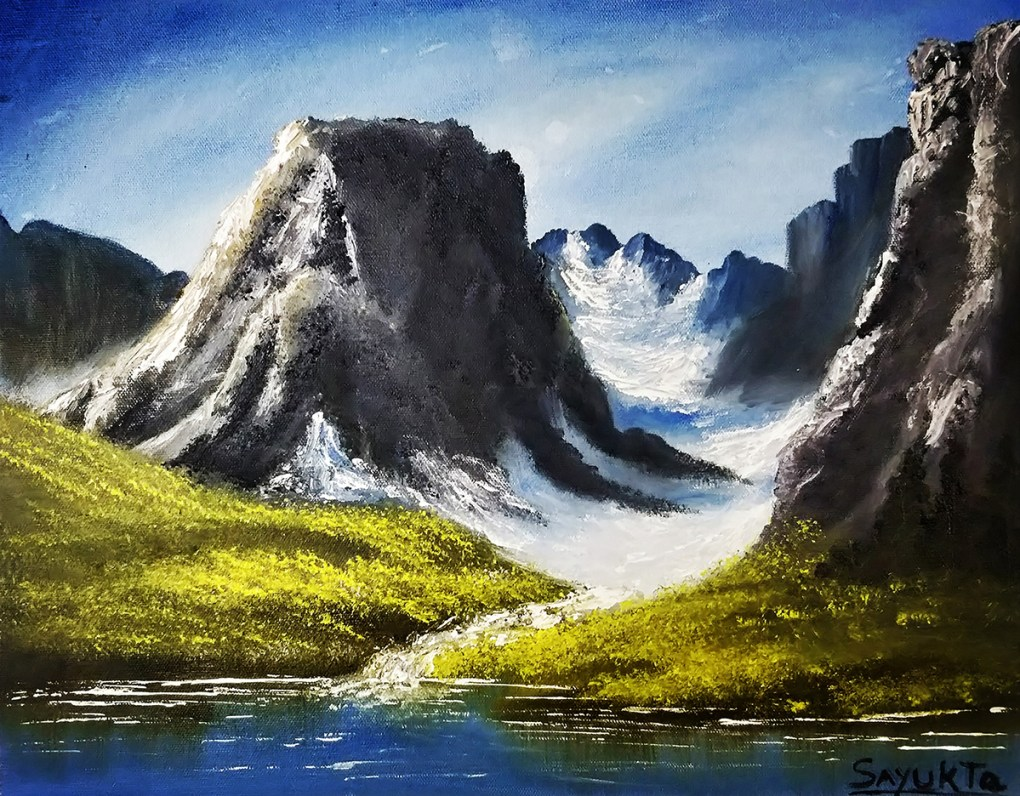 Title : Glaciers in Mountains, Artist - Priyanka Apte, Medium : Oil on Canvas, Size : 50 x 40 cm