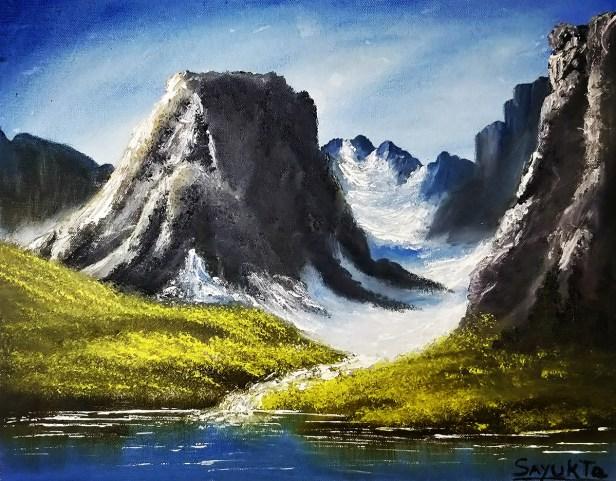 Title : Glaciers in Mountains, Artist - Priyanka Apte, Medium : Oil on Canvas, Size : 50 x 40 cm