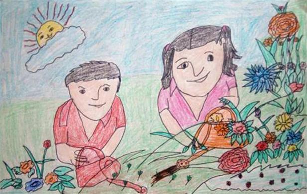 Painting by Simran, Satya Bharti School, Teek, Haryana