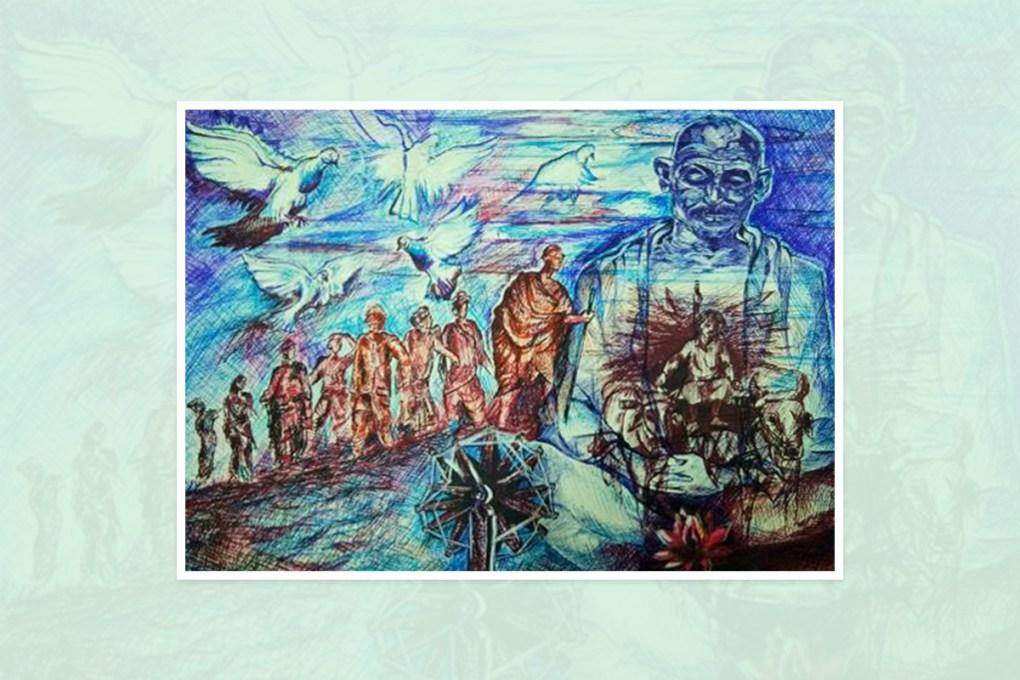 "Painting by Akank Nalawade, Satara, Maharashtra, India - part of the select paintings from the international painting competition ""World of Mahatma Gandhi"""