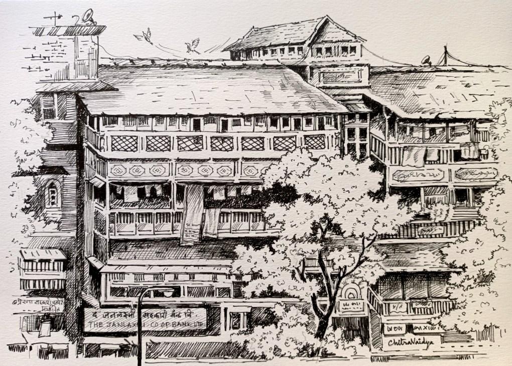 Girgaon sketch of heritage buildings in pen & ink (part of Mumbai heritage) by artist Chitra Vaidya