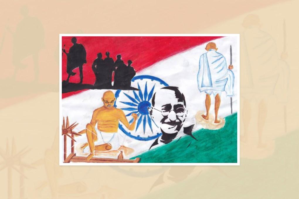 "Artwork by Hajidha Farwin, Kalubowila, Sri Lanka - one of the select artworks from the international art competition ""World of Mahatma Gandhi"""