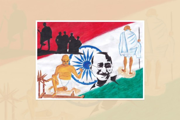"Artwork by Hajidha Farwin, Kalubowila, Sri Lanka - one of the select artworks from the international art competition ""World of Mahatma Gandhi"""