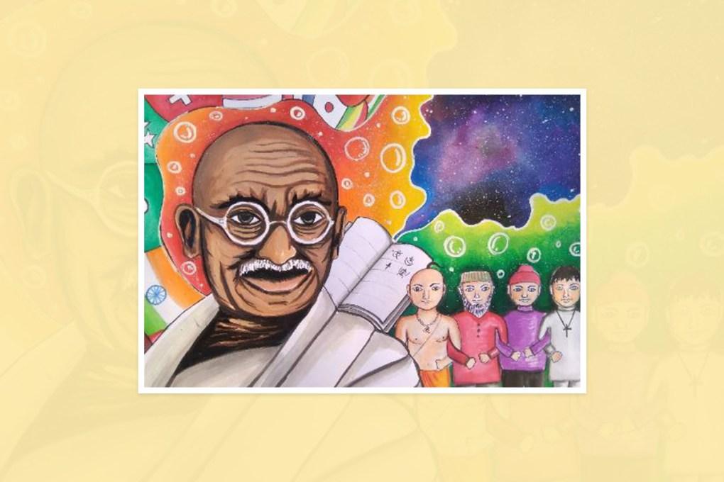 "Artwork by Jayprakash Kashyap, Raipur, Chhattisgarh, India - part of the select artworks from international art competition ""World of Mahatma Gandhi"""