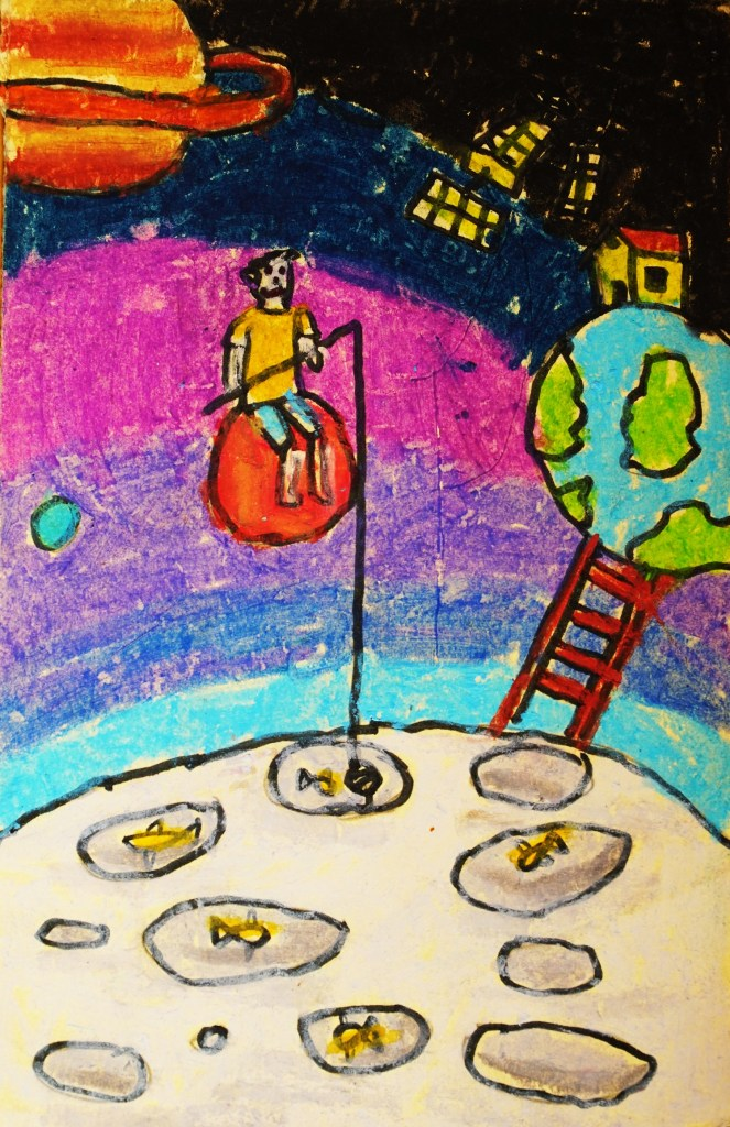 Painting by Ninaad Vaze (9 years), Mumbai - part of postcard collection of Khula Aasmaan