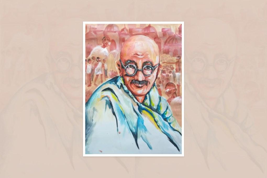 "Artwork by Pannapach Keereedej, Bangkok, Nong Kham, Thailand - one of the select artworks from international art competition ""World of Mahatma Gandhi"""