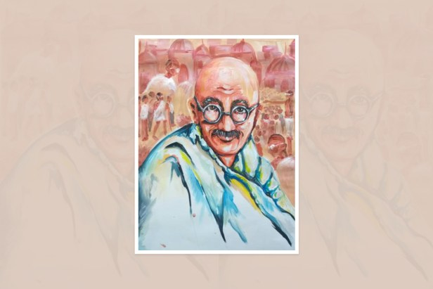 "Artwork by Pannapach Keereedej, Bangkok, Nong Kham, Thailand - one of the select artworks from international art competition ""World of Mahatma Gandhi"""