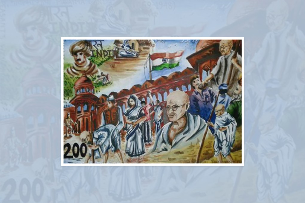 "Artwork by Shakibul Islam, Kolkata, West Bengal, India - part of select artworks from international art competition ""World of Mahatma Gandhi"""
