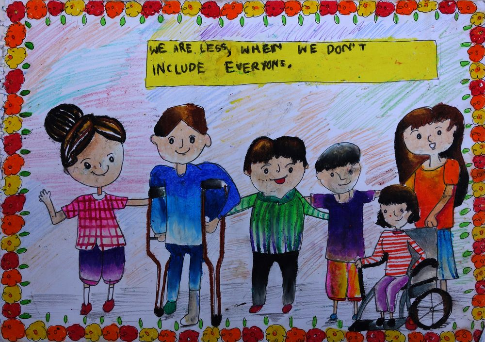 Aayushi Sen (11 years) from Delhi Public School, Kolkata, West Bengal makes a case for respect for specially abled and an inclusive society through her painting