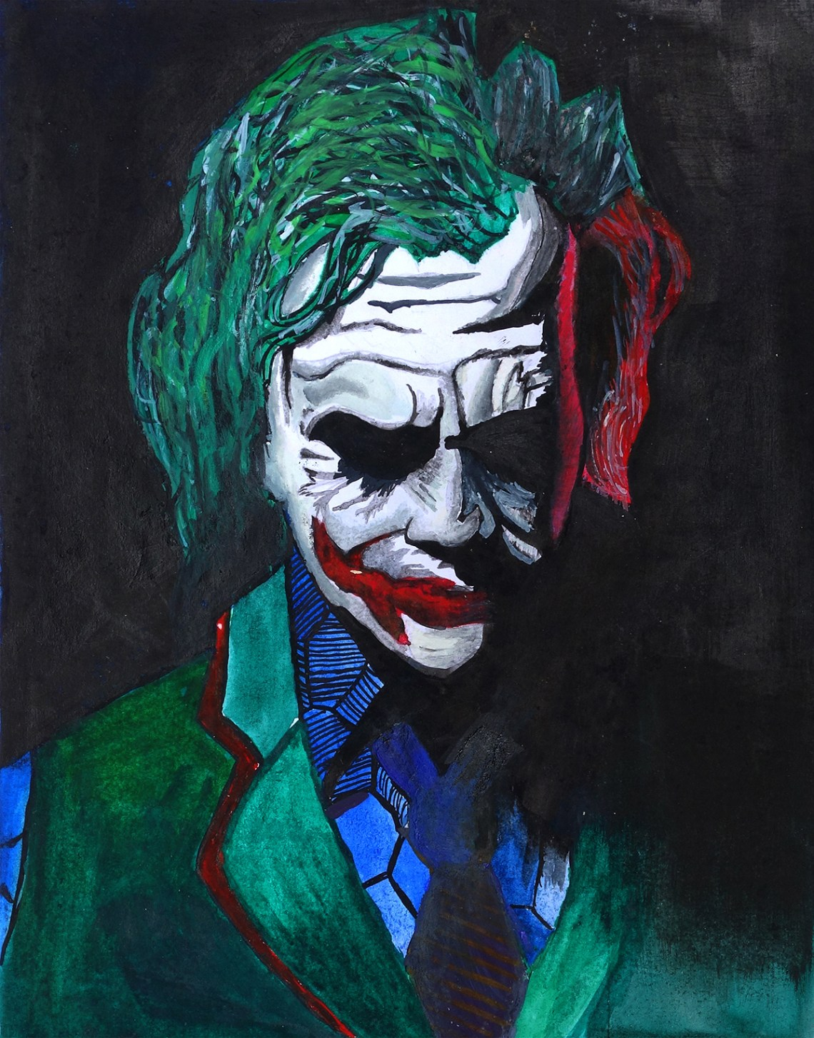 Joker, painting by child artist Rithesh Shet (inspired by movie Batman) - honorable mention in Khula Aasmaan drawing and painting competition for January to March 2020