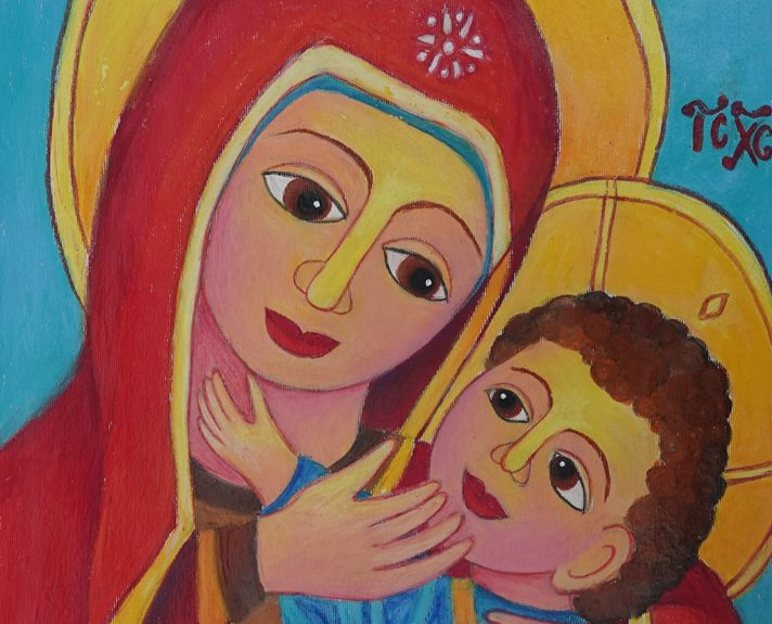 Holy mother and child Jesus painting by Viara Pencheva won bronze medal in Khula Aasmaan art contest for children and young adults