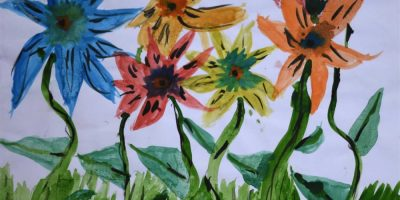 Dancing flowers painting by child artist Arika Goenka