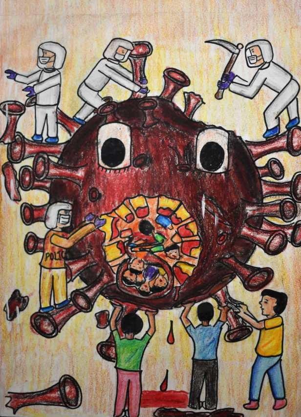 coronavirus pandemic painting by Anjani Mhatre to create awareness for fight against covid-19 pandemic
