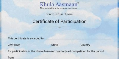 Certificate of Participation format for Khula Aasmaan drawing, painting, art competition