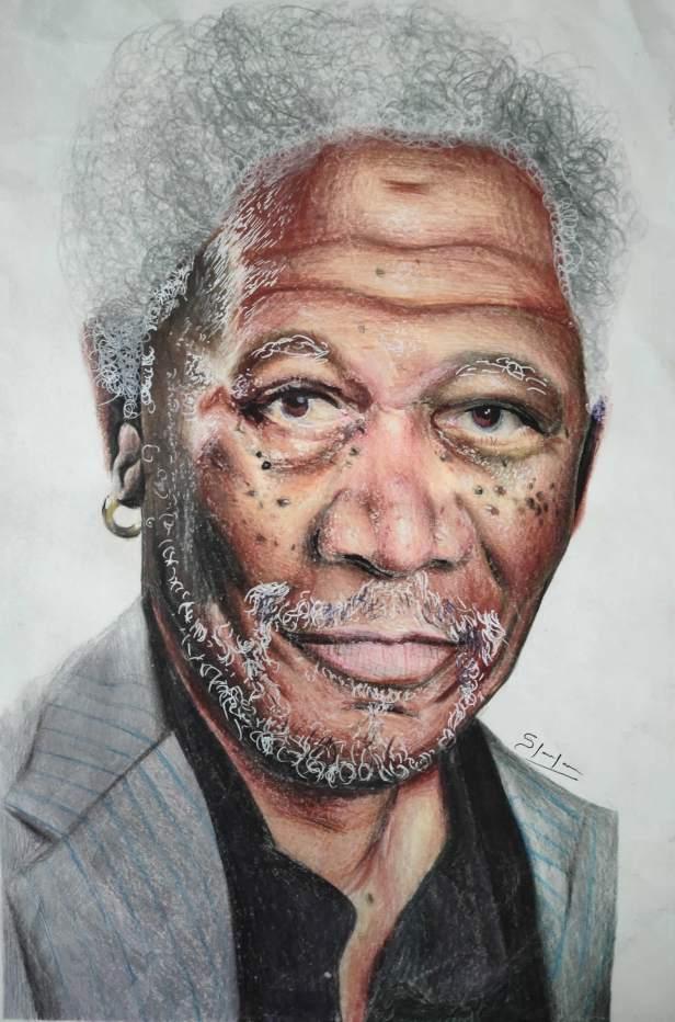 Morgan Freeman portrait painting in colour pencils