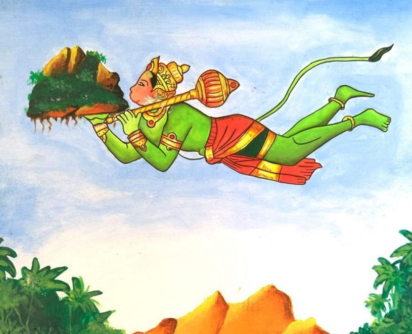 Hanuman carries Dronagiri mountain with sanjeevani herb - shortlisted artwork from painting competition on Ramayana
