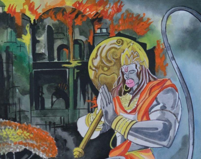 Hanuman burns Lanka, shortlisted painting from Ramayana Art Project