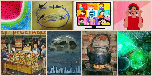 Shortlisted artists from Khula Aasmaan international online art contest