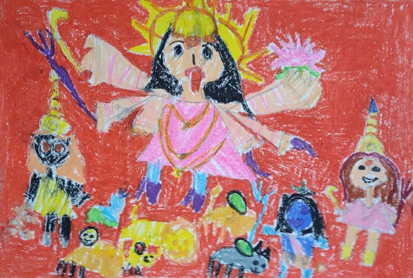 Painting by Naithal Rahul (6 years) from Khula Aasmaan art contest