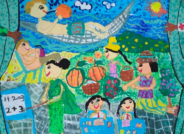 Painting by Thanumi De Silva (7 years), Habaraduwa, Sri Lanka - medal winner in Khula Aasmaan international online art contest