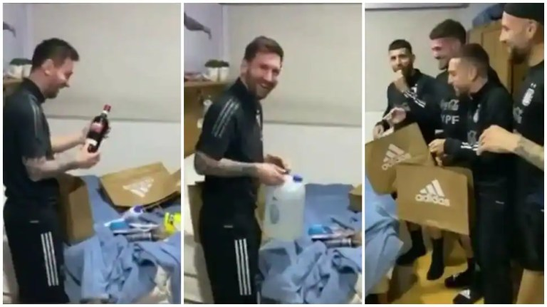 Lionel Messi celebrates 34th birthday, Argentina players surprise Barcelona star with gifts and cake – WATCH   Football News