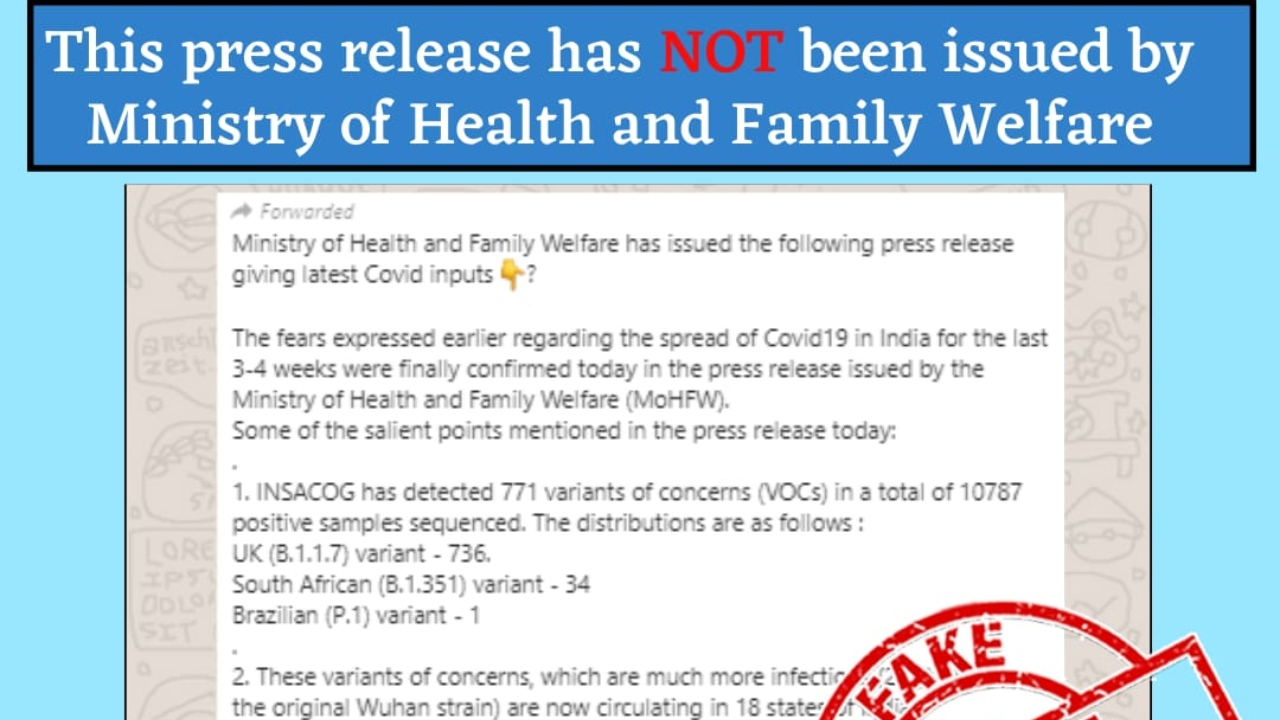 Fact Check: Fake notification claiming COVID inputs from Ministry of Health is being circulated
