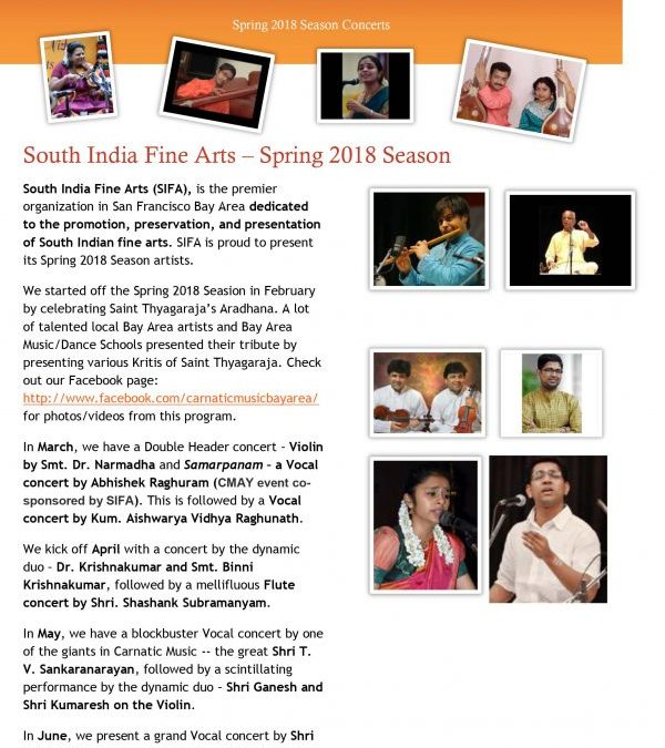 South India Fine Arts: Spring 2018 Season