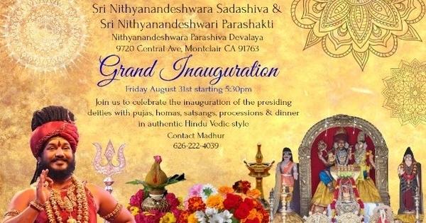 Inauguration: Nithyanandeshwara Parashiva Devalaya
