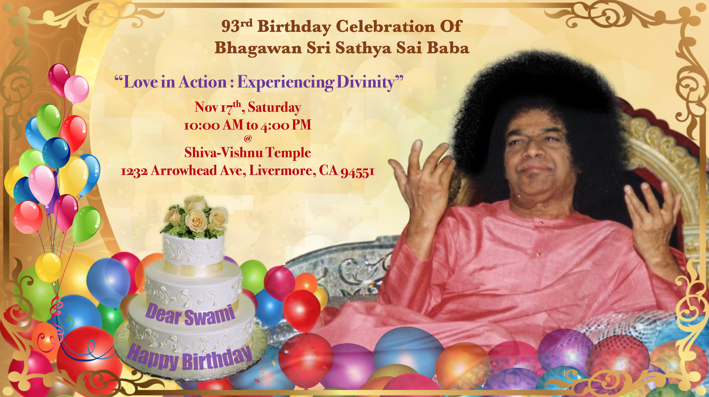 Bhagawan Sri Sathya Sai Baba's 93rd, Birthday Celebrations