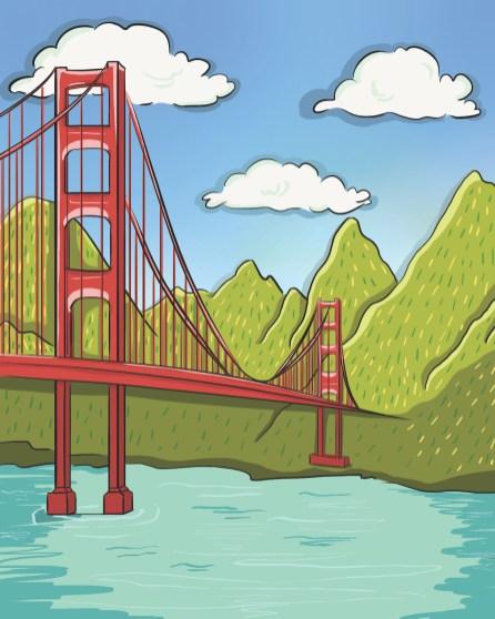 Golden Gate Bridge illustration from 'I am Grateful'