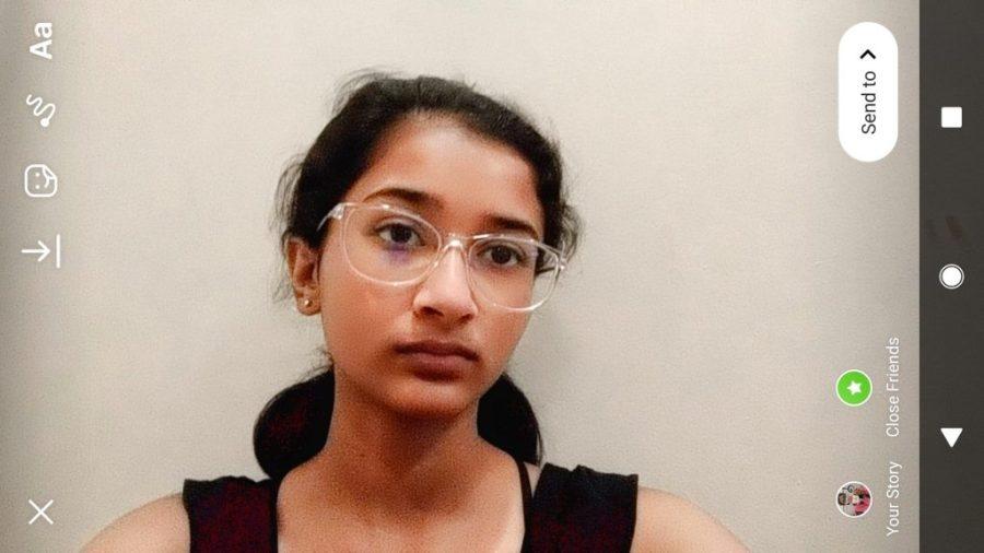 Medha Sarkar with an Instagram filter that lightens her skin and changes her nose.