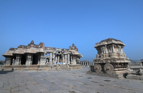 The stone chariot inside the Vittala temple complex. Legend has it that the stone wheels actually moved around the axis.