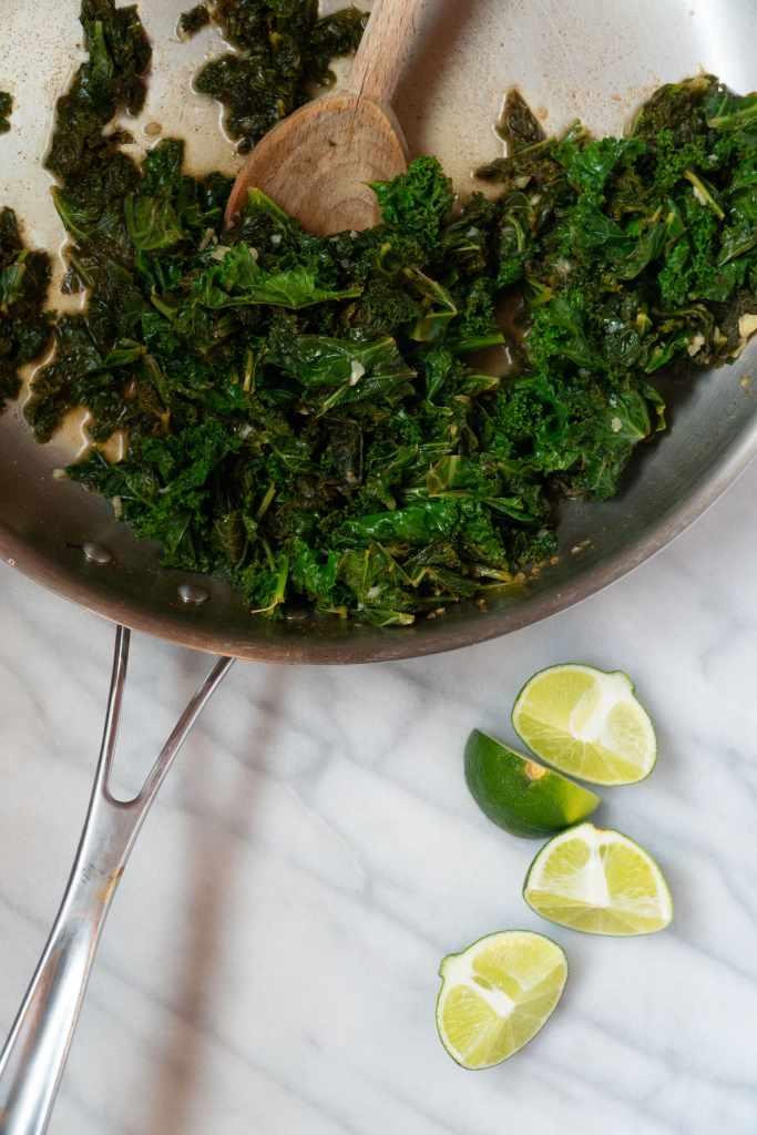 Sautéed kale in skillet